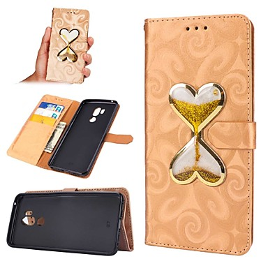 رخيصةأون LG أغطية / كفرات-غطاء من أجل LG LG G7 محفظة / حامل البطاقات / سائل متدفق غطاء كامل للجسم قلب قاسي جلد PU