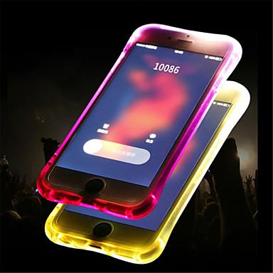 رخيصةأون أغطية أيفون-غطاء من أجل Apple iPhone X / iPhone 8 Plus / iPhone 8 LEDضوء فلاش / شبه شفّاف غطاء خلفي لون سادة ناعم TPU
