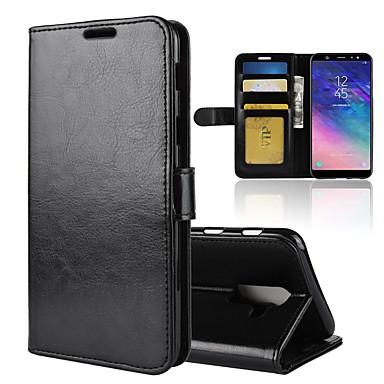 غطاء من أجل Samsung Galaxy A6 (2018) / A6+ (2018) / A8 2018 محفظة / حامل البطاقات / قلب غطاء كامل للجسم لون سادة قاسي جلد PU