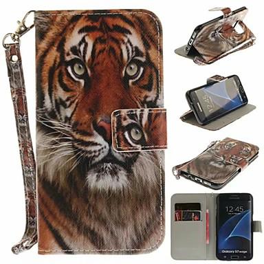 غطاء من أجل Samsung Galaxy S7 edge محفظة / حامل البطاقات / مع حامل غطاء كامل للجسم أسد قاسي جلد PU