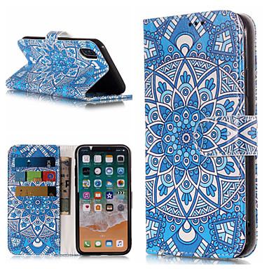 غطاء من أجل Apple iPhone X / iPhone 8 Plus / iPhone 8 محفظة / حامل البطاقات / مع حامل غطاء كامل للجسم ماندالا نمط / زهور قاسي جلد PU