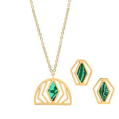 نسائي تنزانيت أحجار كريمة أقراط الزر قلائد الحلي سيدات ترف موضة الأقراط مجوهرات أخضر من أجل زفاف مواعدة