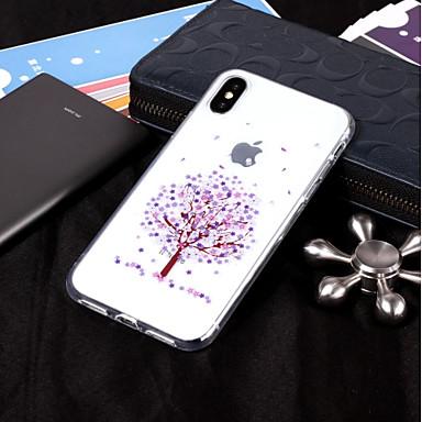 Недорогие Кейсы для iPhone 7-Кейс для Назначение Apple iPhone X / iPhone 8 Pluss / iPhone 8 IMD / Прозрачный / С узором Кейс на заднюю панель дерево Мягкий ТПУ