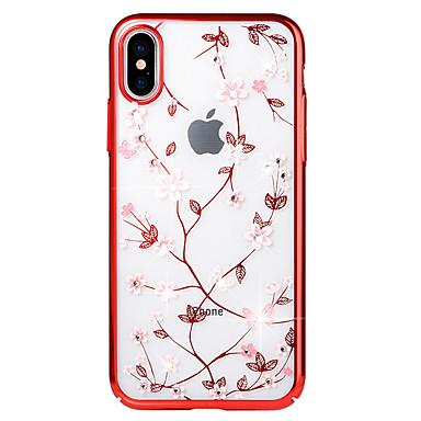Недорогие Кейсы для iPhone X-Кейс для Назначение Apple iPhone X / iPhone 8 Pluss / iPhone 8 Стразы / Покрытие / Рельефный Кейс на заднюю панель Цветы Твердый ПК