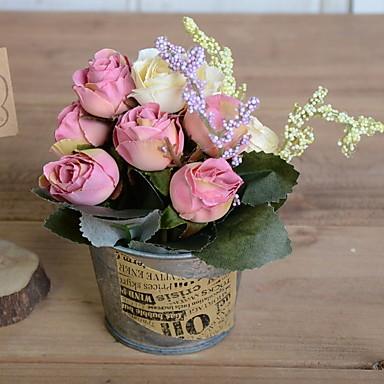 زهور اصطناعية 1 فرع كلاسيكي رجعي الورود أزهار الطاولة