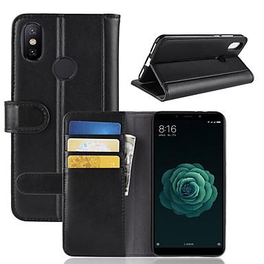 Недорогие Чехлы и кейсы для Xiaomi-Кейс для Назначение Xiaomi Xiaomi Mi 6X(Mi A2) Кошелек / Бумажник для карт / со стендом Чехол Однотонный Твердый Настоящая кожа