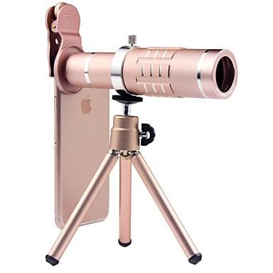 عدسة الهاتف المحمول عدسة زاوية كبيرة سبيكة ألومنيوم 18X ماكرو 3 m 70 ° العدسة مع الحامل