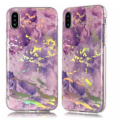 غطاء من أجل Apple iPhone X / iPhone 8 Plus / iPhone 8 تصفيح / IMD / نموذج غطاء خلفي حجر كريم ناعم TPU