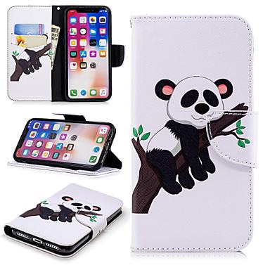 غطاء من أجل Apple iPhone X / iPhone 8 Plus / iPhone 8 محفظة / حامل البطاقات / مع حامل غطاء كامل للجسم باندا قاسي جلد PU