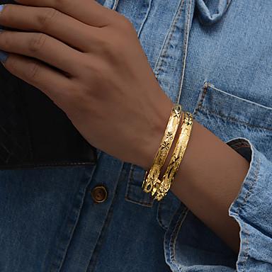 رخيصةأون أساور-2pcs نسائي أساور أساور اصفاد أشكال النحت سيدات عرقي ايطالي مطلية بالذهب مجوهرات سوار ذهبي من أجل مناسب للحفلات هدية