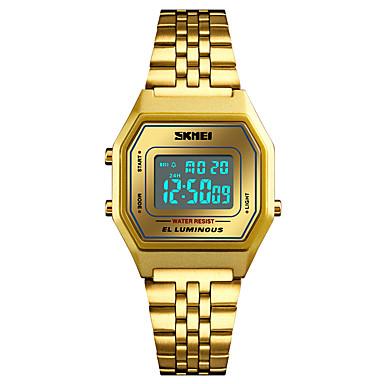 Недорогие Часы на металлическом ремешке-SKMEI Муж. Спортивные часы Армейские часы электронные часы Цифровой На каждый день Защита от влаги Цифровой Черный и золотой Золотистый Розовое золото / Один год / Нержавеющая сталь / Японский