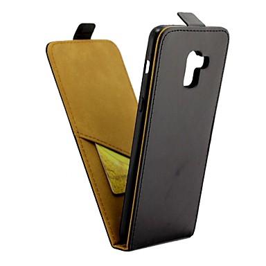 غطاء من أجل Samsung Galaxy A8+ 2018 حامل البطاقات / قلب غطاء كامل للجسم لون سادة قاسي جلد PU