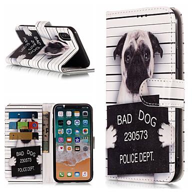 voordelige iPhone-hoesjes-hoesje Voor Apple iPhone X / iPhone 8 Plus / iPhone 8 Portemonnee / Kaarthouder / met standaard Volledig hoesje Hond / Woord / tekst Hard PU-nahka