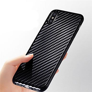 Недорогие Кейсы для iPhone 6-Кейс для Назначение Apple iPhone X / iPhone 8 Pluss / iPhone 8 Ультратонкий / Рельефный Кейс на заднюю панель Полосы / волосы Мягкий Углеродное волокно