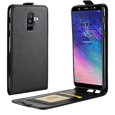 غطاء من أجل Samsung Galaxy A6 (2018) / A6+ (2018) / A8 2018 حامل البطاقات / قلب غطاء كامل للجسم لون سادة قاسي جلد PU