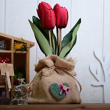 زهور اصطناعية 1 فرع كلاسيكي زهري أزهار التولب أزهار الطاولة