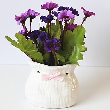 زهور اصطناعية 1 فرع كلاسيكي النمط الرعوي الإقحوانات أزهار الطاولة