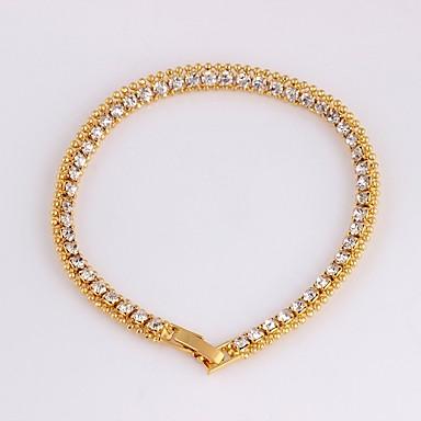 نسائي أسورة سلسلة التنس أنيق سيدات الكورية موضة مطلية بالذهب عيار 18 مجوهرات سوار ذهبي من أجل مناسب للحفلات هدية