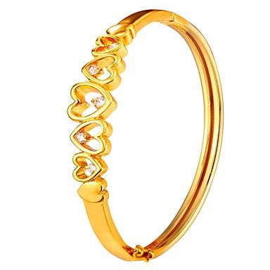 نسائي أساور قلب موضة نحاس مجوهرات سوار ذهبي / فضي من أجل هدية مناسب للبس اليومي