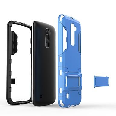 رخيصةأون LG أغطية / كفرات-غطاء من أجل LG LG K10 2018 / LG K10 (2017) / LG K10 مع حامل غطاء خلفي لون سادة قاسي الكمبيوتر الشخصي