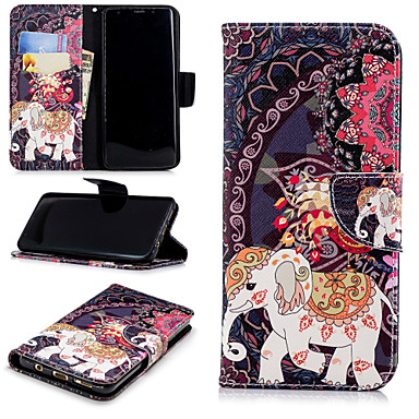 Недорогие Чехлы и кейсы для Galaxy S-Кейс для Назначение SSamsung Galaxy S9 / S9 Plus / S8 Plus Кошелек / Бумажник для карт / со стендом Чехол Слон / Цветы Твердый Кожа PU