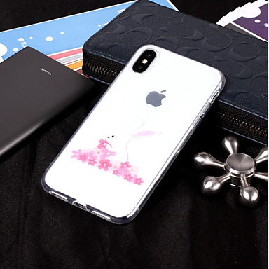 voordelige iPhone 7 hoesjes-hoesje Voor Apple iPhone X / iPhone 8 Plus / iPhone 8 IMD / Transparant / Patroon Achterkant dier Zacht TPU