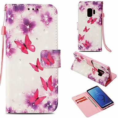 غطاء من أجل Samsung Galaxy S9 محفظة / حامل البطاقات / مع حامل غطاء كامل للجسم فراشة قاسي جلد PU