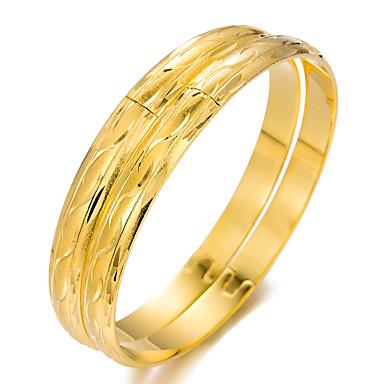 2pcs نسائي أساور أساور اصفاد أشكال النحت سيدات عرقي مطلية بالذهب مجوهرات سوار ذهبي من أجل مناسب للحفلات هدية