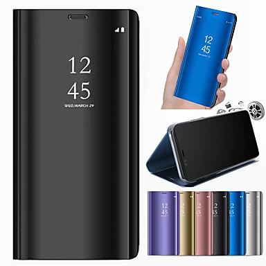 غطاء من أجل Samsung Galaxy A6 (2018) / A6+ (2018) / A3 (2017) مع حامل / مرآة غطاء كامل للجسم لون سادة قاسي جلد PU