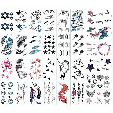 billige Midlertidige tatoveringer-30 pcs Tatoveringsklistermærker Midlertidige Tatoveringer Totem Serier / Dyre Serier / Blomster Serier Kropskunst arm