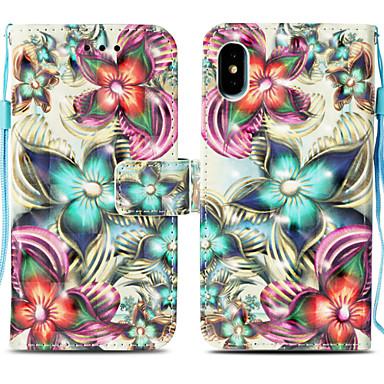 غطاء من أجل Apple iPhone X / iPhone 8 Plus / iPhone 8 حامل البطاقات / مع حامل / قلب غطاء كامل للجسم زهور قاسي جلد PU