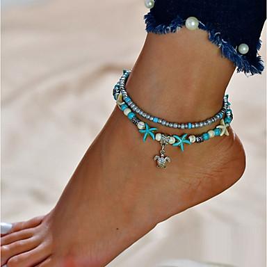 رخيصةأون مجوهرات الجسم-نسائي فيروز خلخال مجوهرات القدمين سلحفاة رخيص طبقة مزدوجة خلخال مجوهرات فضي من أجل مناسب للخارج بيكيني