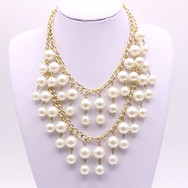 Women's Layered Necklace Floating Ball Ladies Elegant Imitation Pearl Alloy Gold 50 cm Necklace Jewelry 1pc For Wedding Evening Party Masquerade Engagement Party Prom Promise