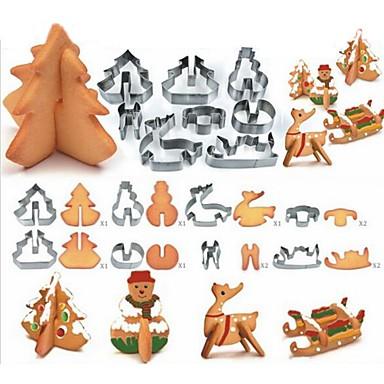 رخيصةأون أدوات الفرن-8 قطع 3d عيد الميلاد كوكي القاطع العفن مجموعة المقاوم للصدأ كعكة فندان