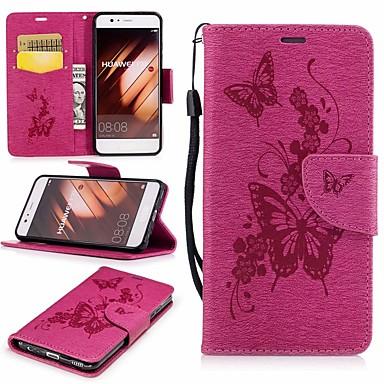غطاء من أجل Huawei P10 محفظة / حامل البطاقات / مع حامل غطاء كامل للجسم فراشة قاسي جلد PU