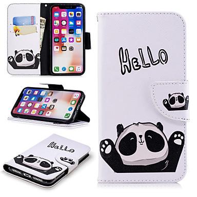 غطاء من أجل Apple iPhone X / iPhone 8 Plus / iPhone 8 محفظة / حامل البطاقات / مع حامل غطاء كامل للجسم جملة / كلمة / باندا قاسي جلد PU
