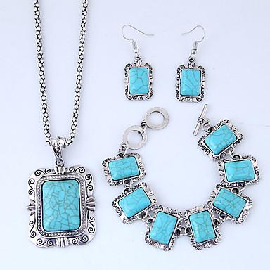 نسائي سلسلة سميكة مجموعة مجوهرات راتينج عتيق, أوروبي, موضة تتضمن عقد حلقات أسورة أزرق من أجل فضفاض / أقراط
