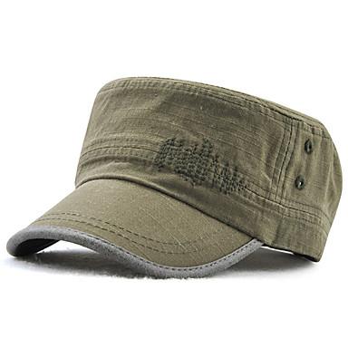 رخيصةأون قبعات الرجال-كل الفصول أزرق أسود أخضر داكن قبعة عسكرية لون سادة رجالي قطن بوليستر,عمل أساسي