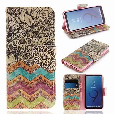 غطاء من أجل Samsung Galaxy S9 محفظة / حامل البطاقات / مع حامل غطاء كامل للجسم خطوط / أمواج قاسي جلد PU