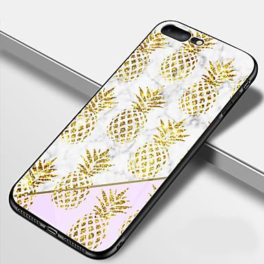 voordelige iPhone-hoesjes-hoesje Voor Apple iPhone X / iPhone 8 Plus / iPhone 8 Spiegel Achterkant Voedsel / Fruit / Marmer Hard TPU / Gehard glas
