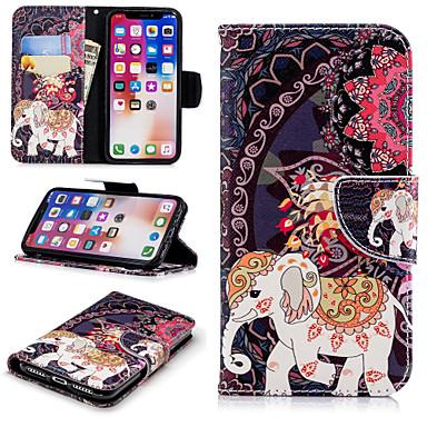 غطاء من أجل Apple iPhone X / iPhone 8 Plus / iPhone 8 محفظة / حامل البطاقات / مع حامل غطاء كامل للجسم حيوان / فيل / زهور قاسي جلد PU