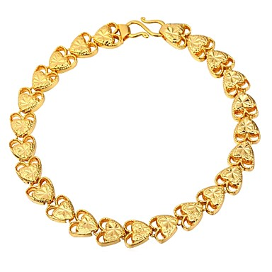 نسائي أساور السلسلة والوصلة حبل قلب سيدات موضة نحاس مجوهرات سوار ذهبي / فضي من أجل هدية مناسب للبس اليومي