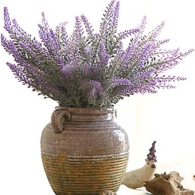 زهور اصطناعية 1 فرع كلاسيكي النمط الرعوي أزرق فاتح أزهار الطاولة