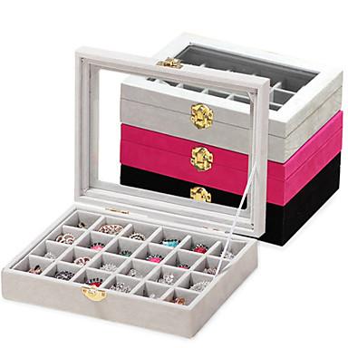رخيصةأون خزانة المكياج و المجوهرات-24 قطعة خشب المرأة تخزين المجوهرات مربع كبير