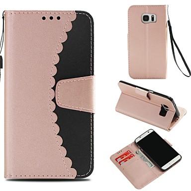 غطاء من أجل Samsung Galaxy S7 edge محفظة / حامل البطاقات / مع حامل غطاء كامل للجسم لون سادة قاسي جلد PU