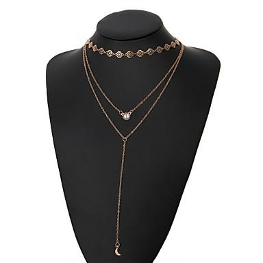 نسائي قلادة Y القلائد الطبقات MOON سيدات موضة سبيكة ذهبي 38 cm قلادة مجوهرات 1PC من أجل مناسب للبس اليومي بيكيني