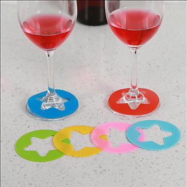 6 قطع كأس سيليكون كأس النبيذ التعرف علامة تسمية حزب مخصص الزجاج