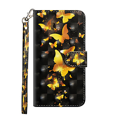 Недорогие Кейсы для iPhone 7 Plus-Кейс для Назначение Apple iPhone X / iPhone 8 Pluss / iPhone 8 Кошелек / Бумажник для карт / со стендом Чехол Бабочка Твердый Кожа PU