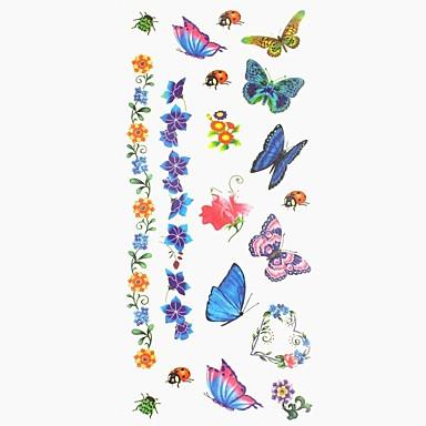 1 pcs ملصقات الوشم الوشم المؤقت سلسلة الحيوانات / سلسلة الزهور الفنون الجسم أيادي / ذراع / معصم