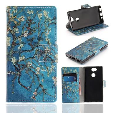 غطاء من أجل Sony Xperia XA2 محفظة / حامل البطاقات / مع حامل غطاء كامل للجسم زهور قاسي جلد PU